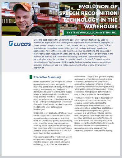 White paper: The Evolution of Speech Recognition in the Warehouse