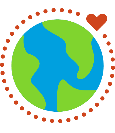 An illustration of a global with a heart icon in orbit