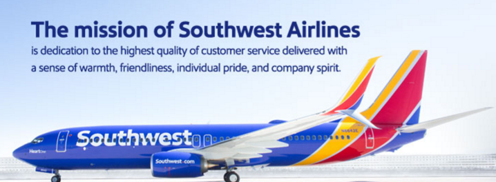 The mission of Southwest Airlines is dedication to the highest quality of customer service delivered with a sense of warmth, friendliness, individual pride, and company spirit.
