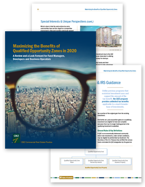 Flat lay of three pages form the CBIZ 2019 Commmercial Real Estate guide book