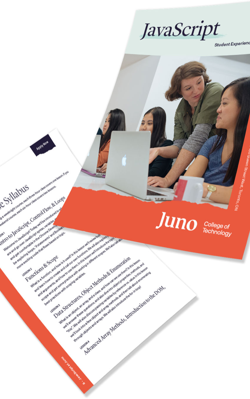 images of floating sheets of paper from a Juno College flyer