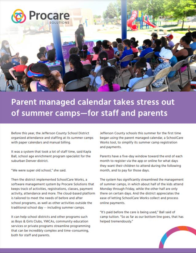 Parent Managed Calendar Takes Stress Out of Summer Camps—For Staff and Parents