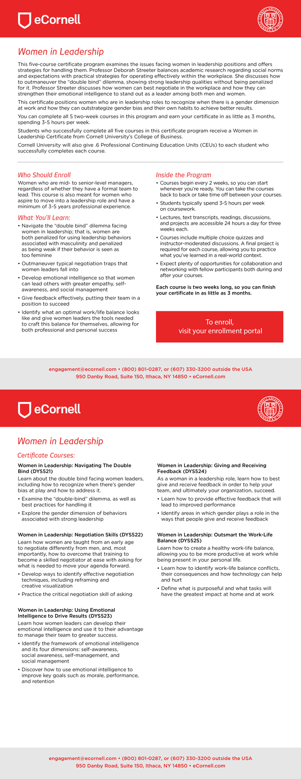 Women in Leadership Flyer for Corporations