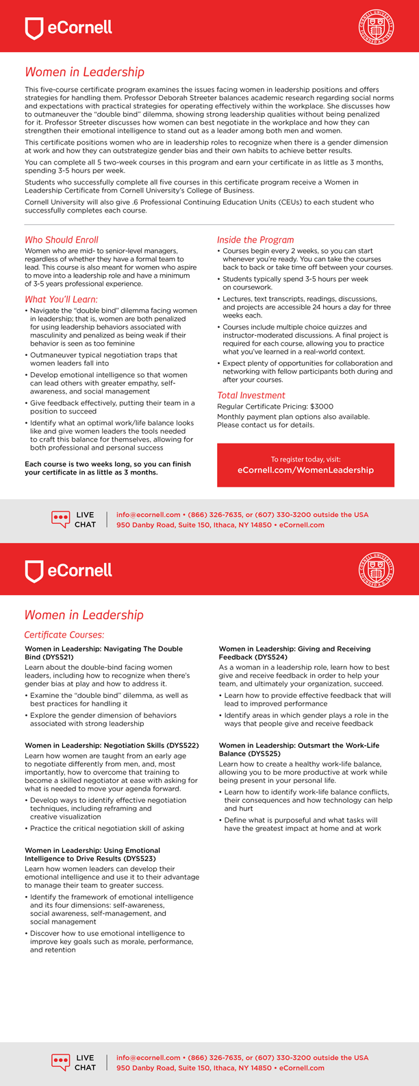 Women in Leadership Certificate Flyer