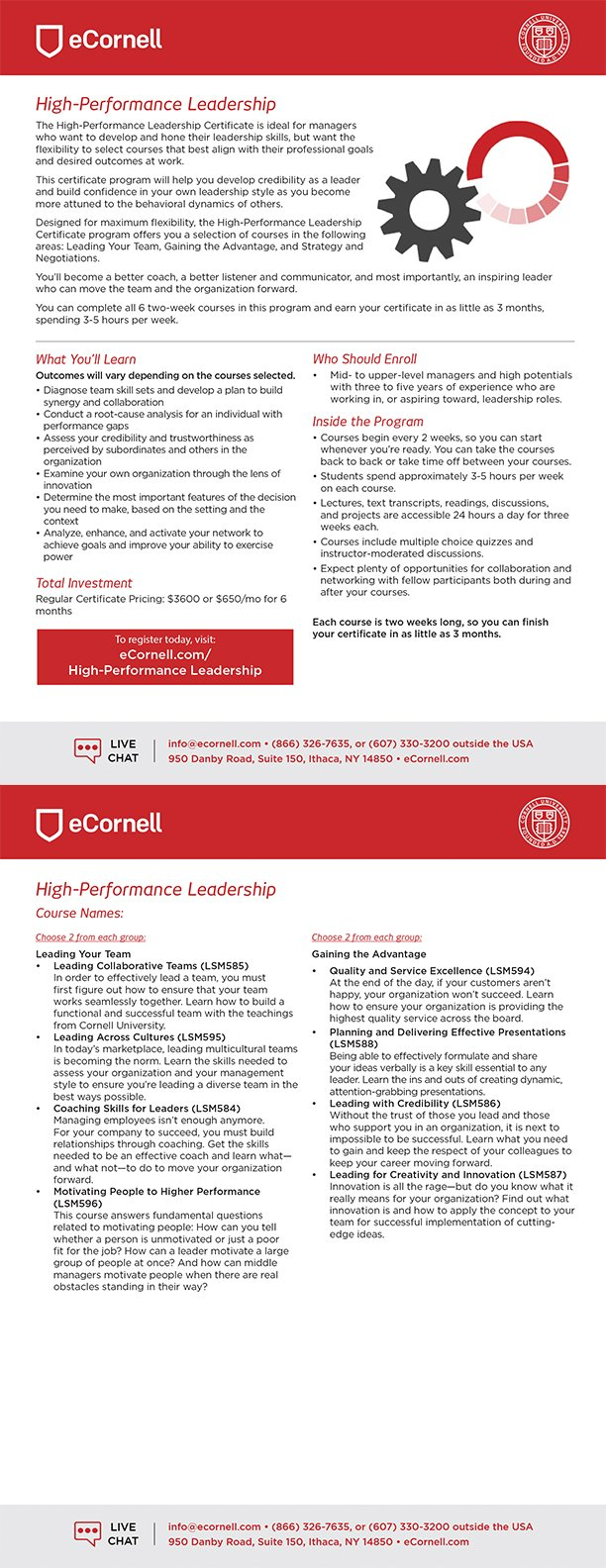 High-Performance Leadership Certificate Flyer