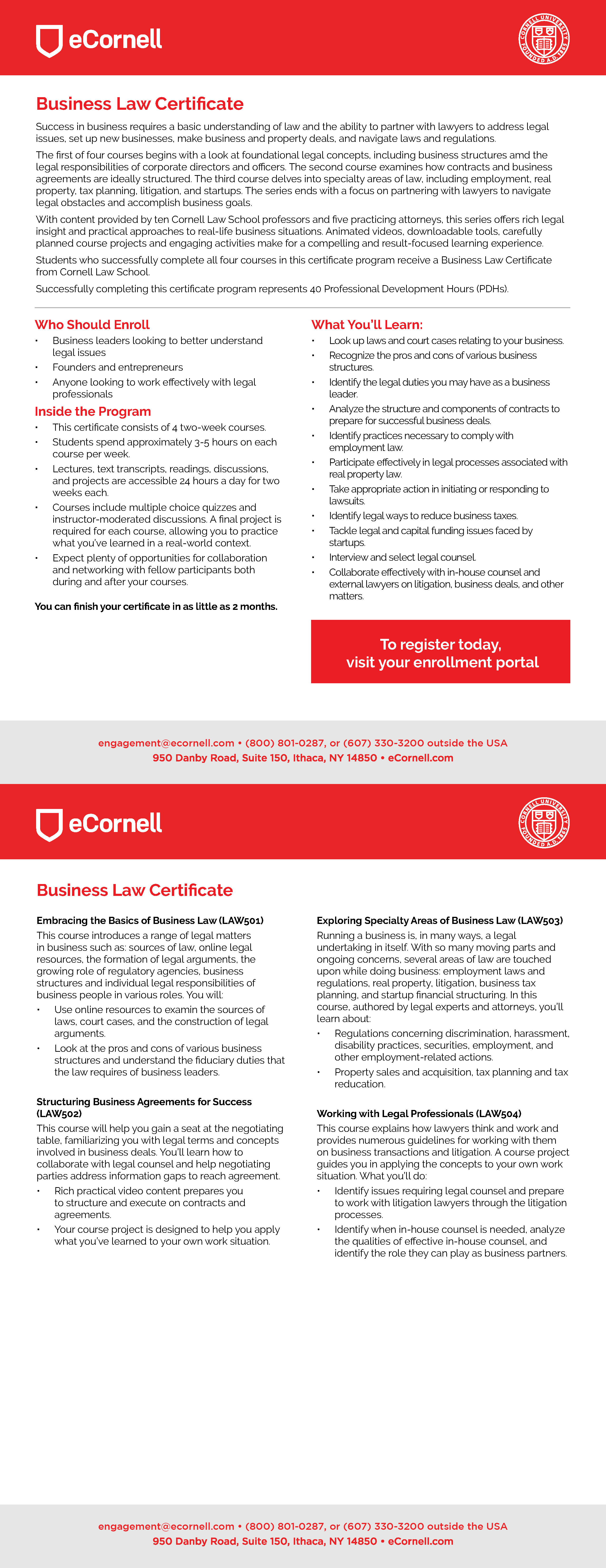 Essential Legal Concepts for Business Leaders Flyer for Corporations