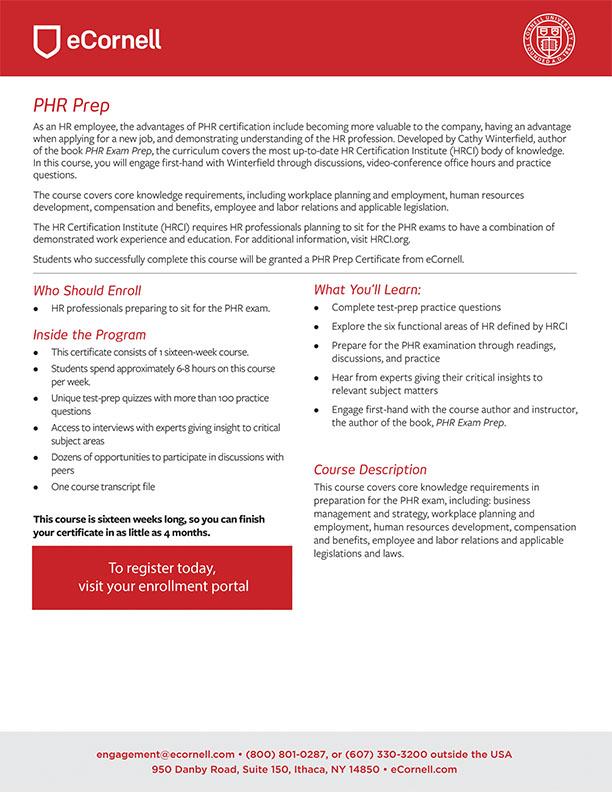PHR Prep Certificate Flyer