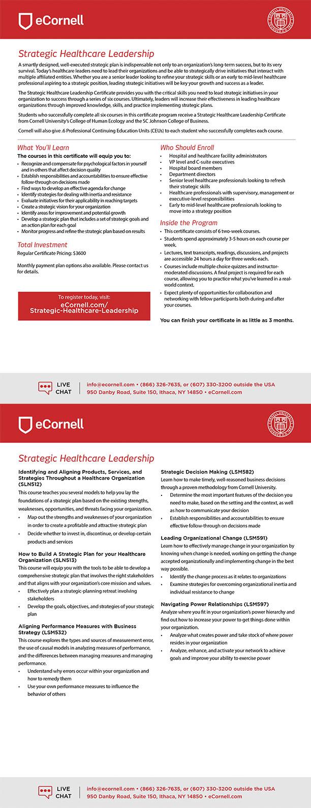 Strategic Healthcare Leadership Flyer