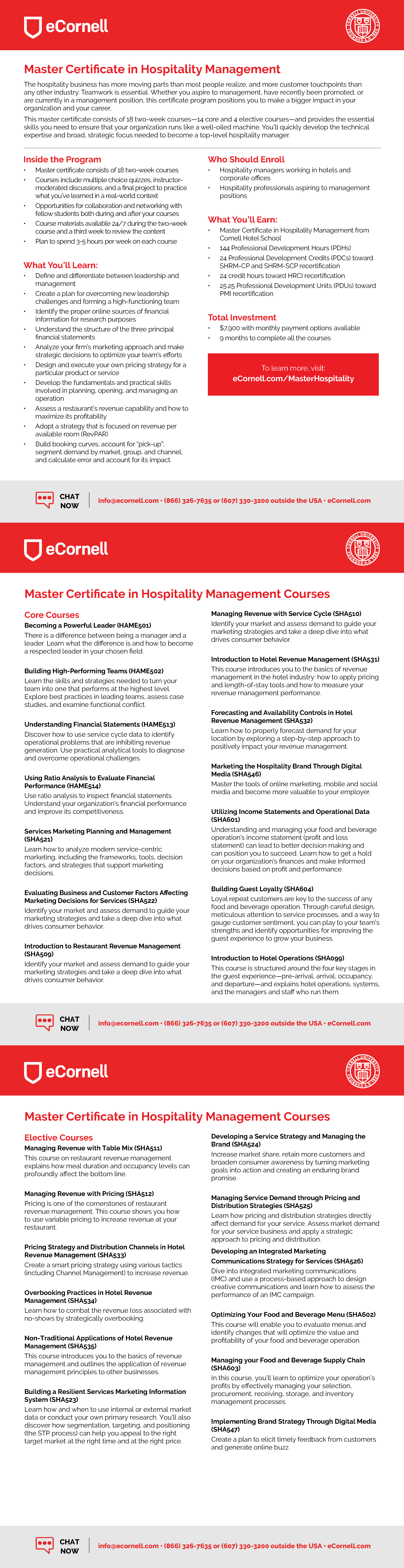 Master Certificate in Hospitality Management