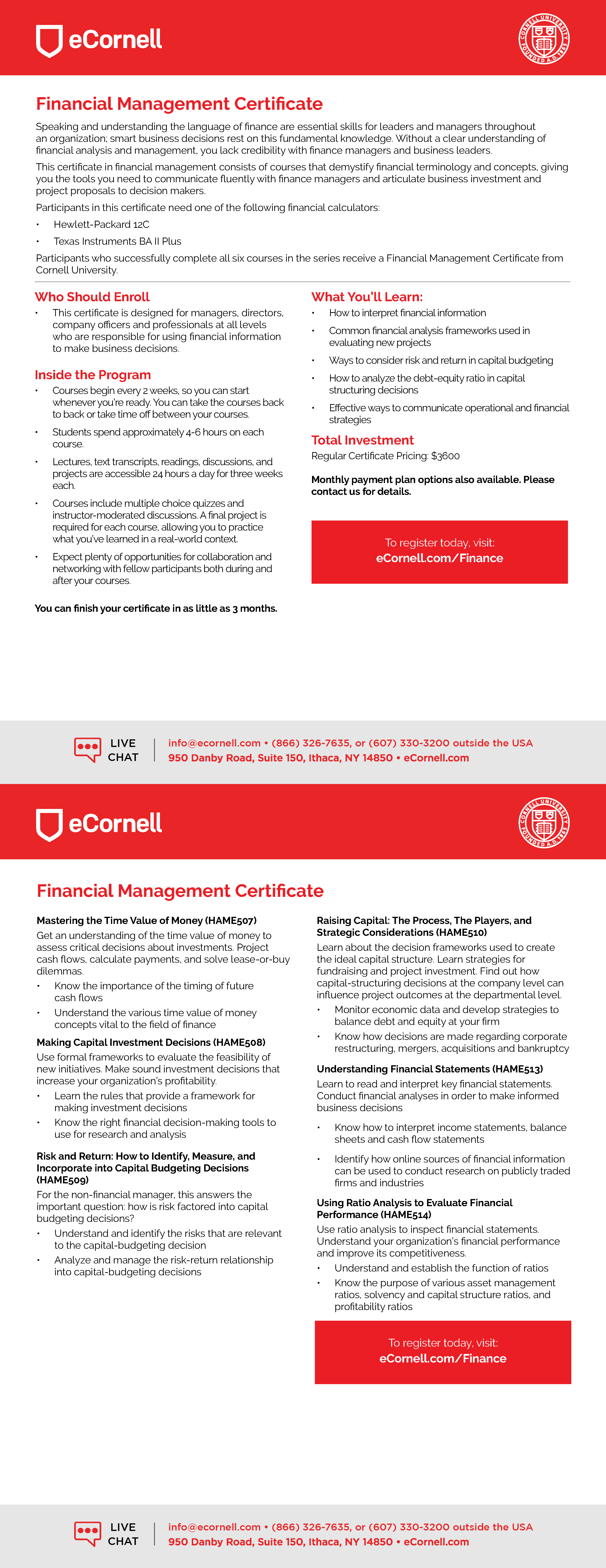 Financial Management Certificate Flyer