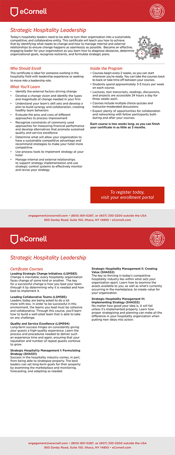Strategic Leadership for the Hospitality Professional Flyer for Corporations