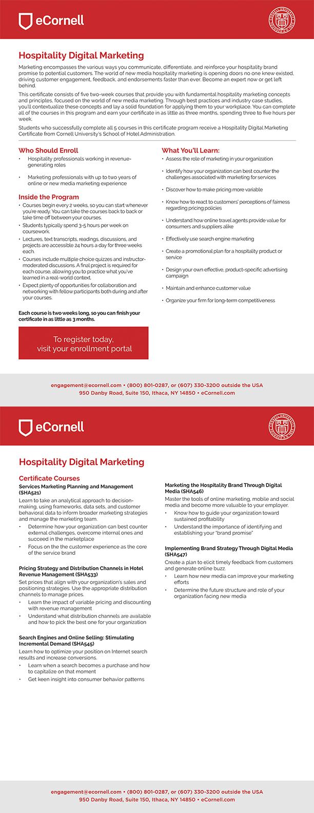 Hospitality Digital Marketing Flyer for Corporations