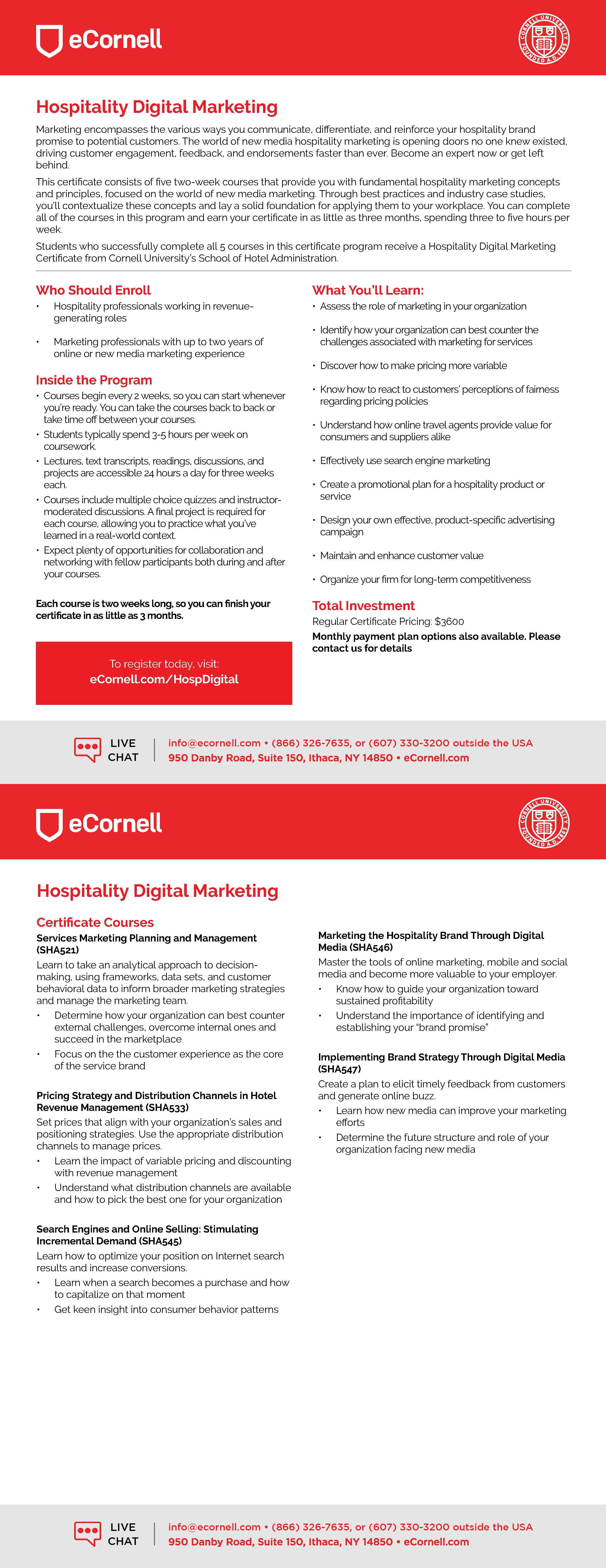 Hospitality Digital Marketing Flyer