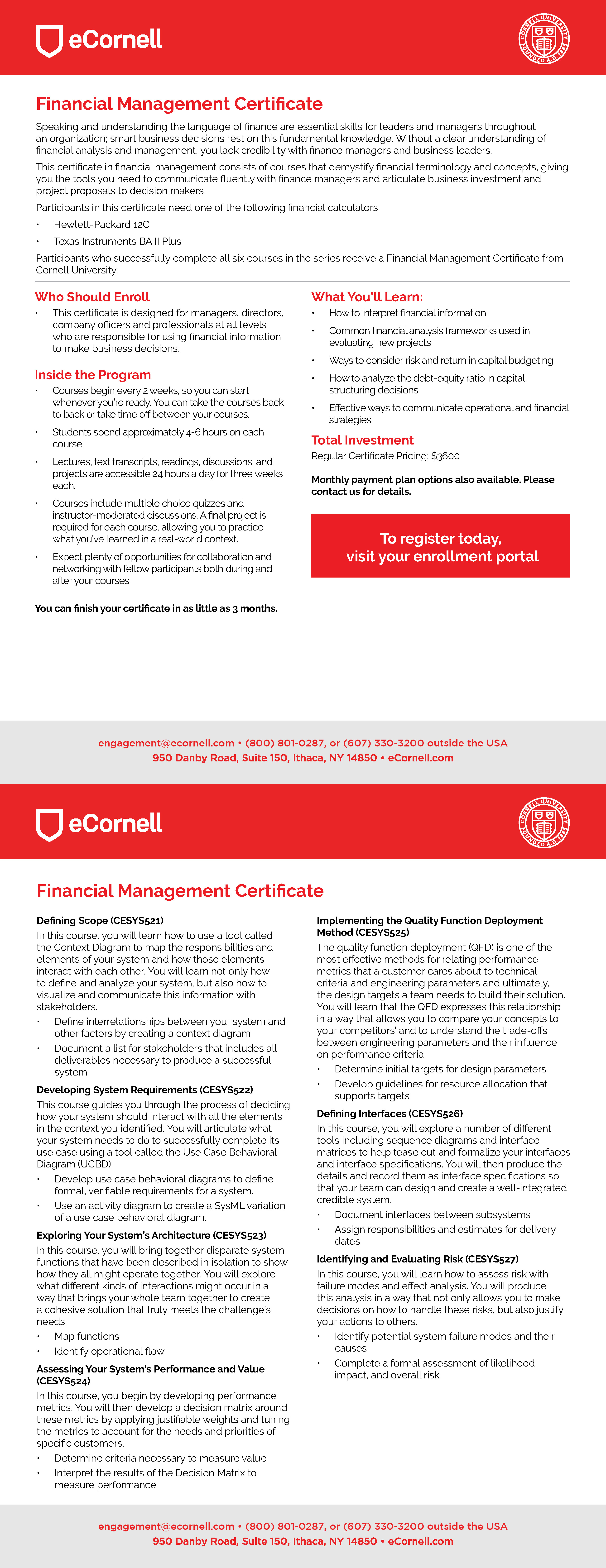 Financial Management Certificate Flyer for Corporations