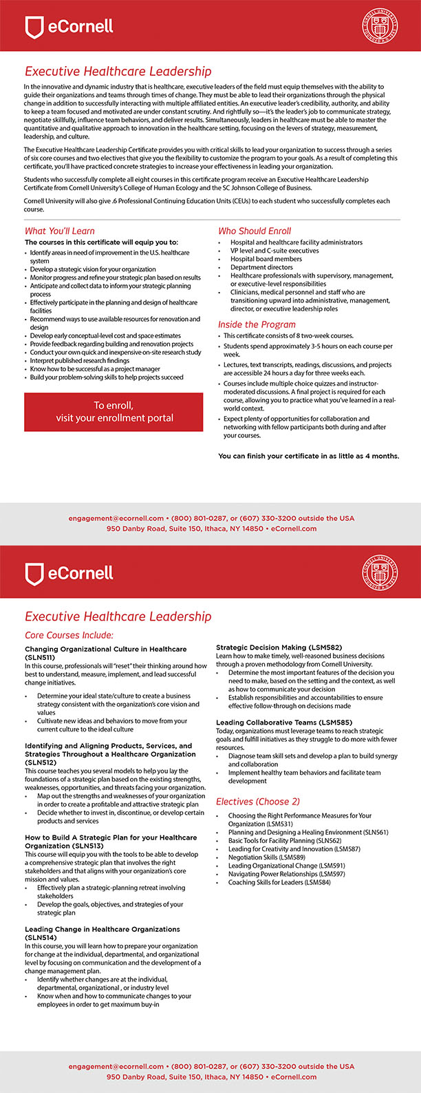 Executive Leadership for Healthcare Professionals Flyer for Corporations