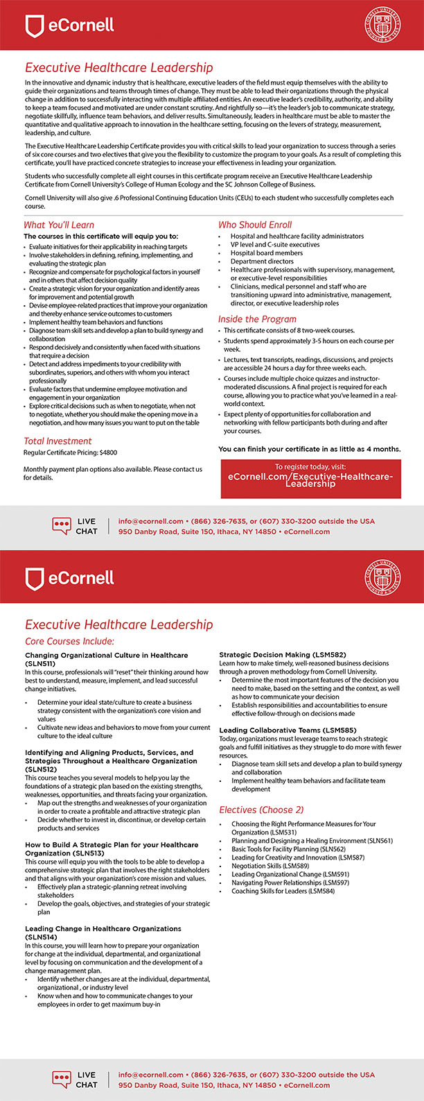 Executive Leadership for Healthcare Professionals Flyer
