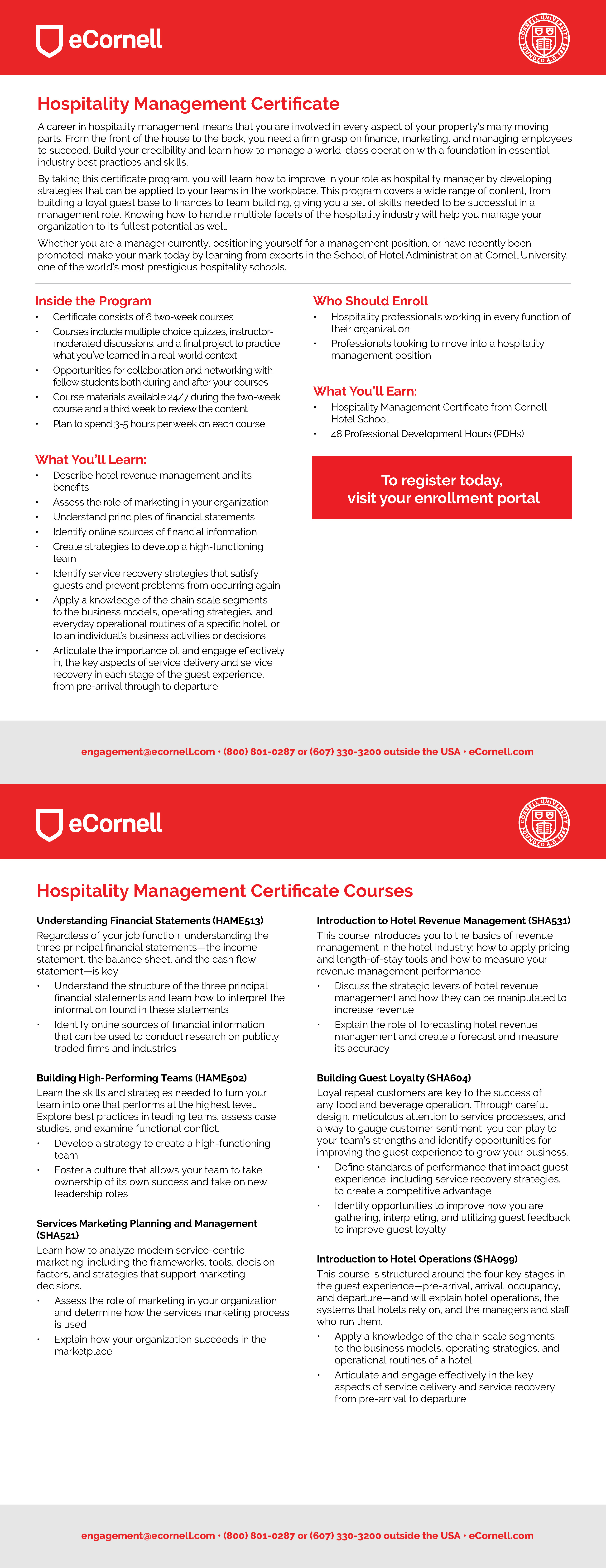 Hospitality Management Flyer for Corporations