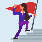 person ascending stairs with flag
