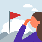 person looking at mountain with flag