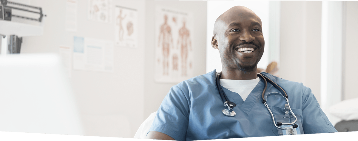Male nurse smiling