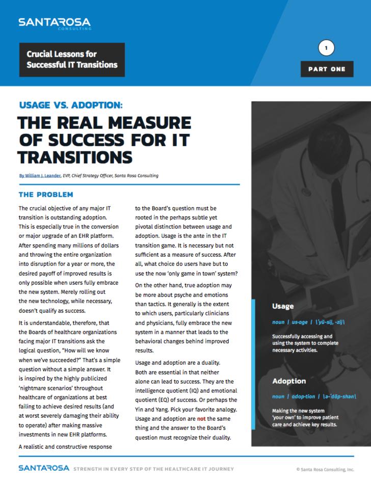 Healthcare IT Transition Adoption White Paper
