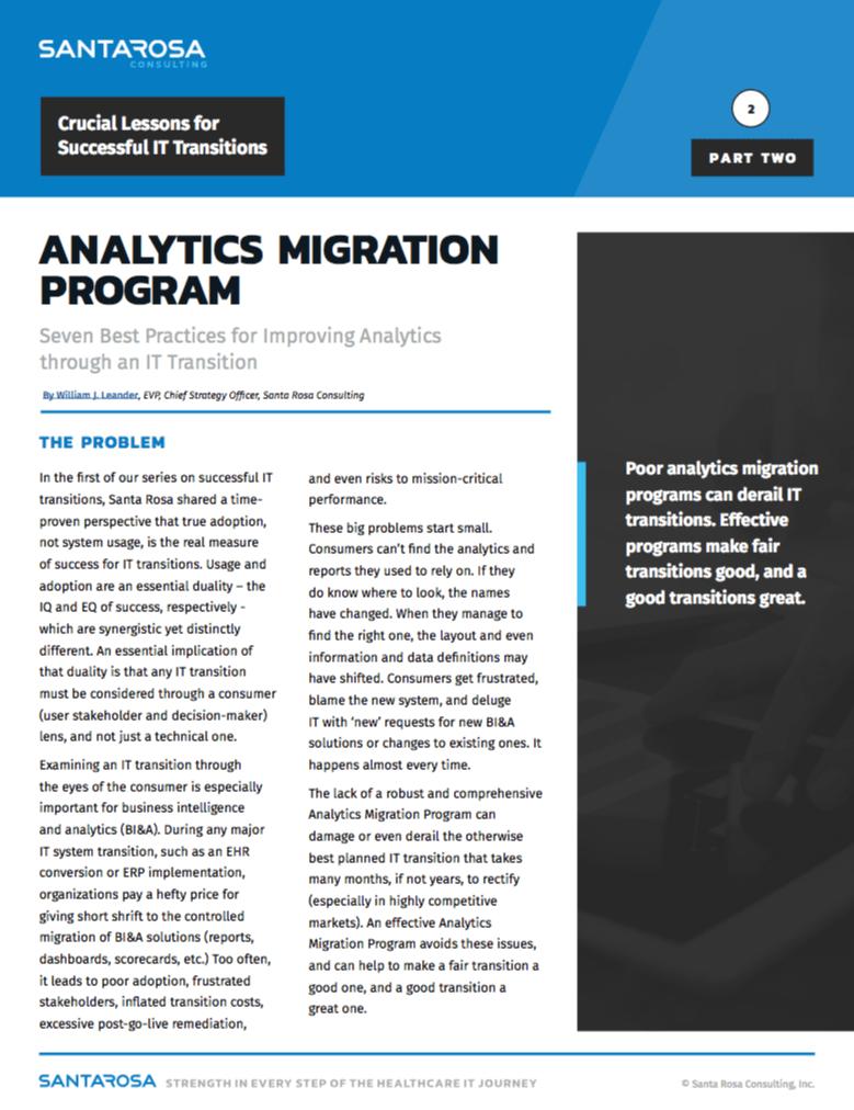 IT Migration Analytics Program White Paper