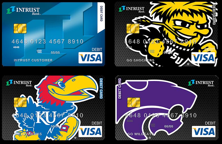 INTRUST Bank debit cards featuring University Designs
