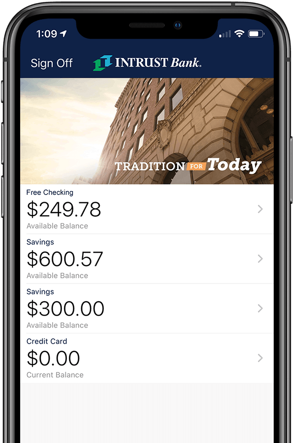 INTRUST Mobile Banking app on an iPhone