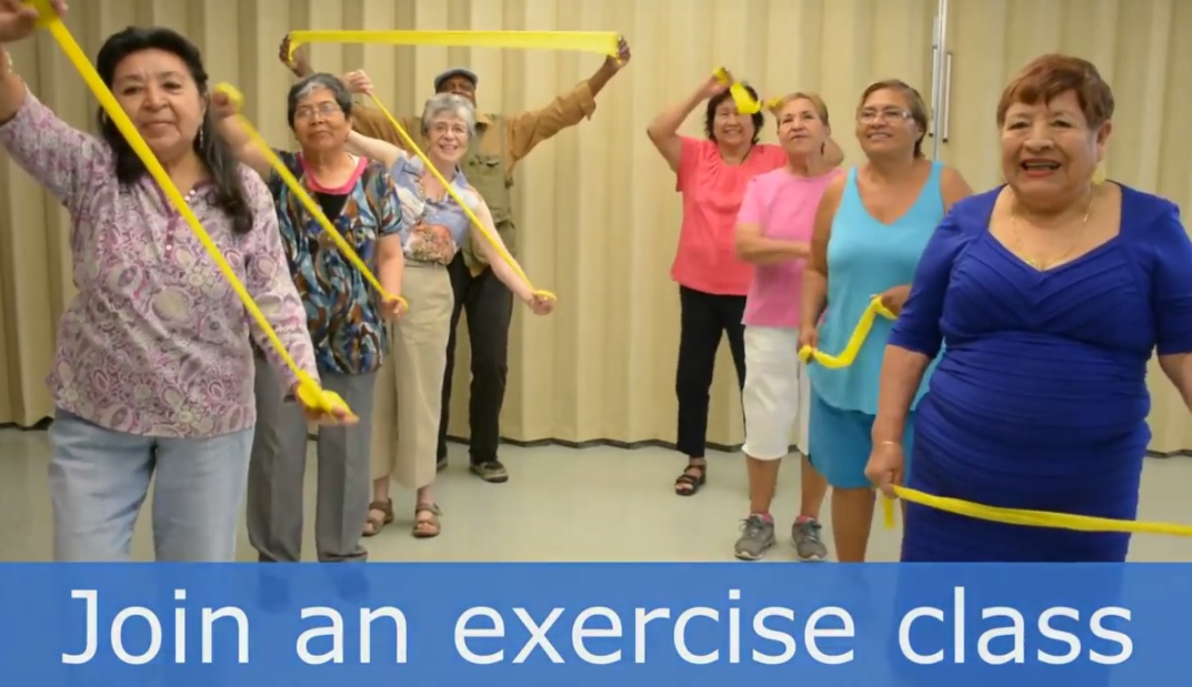 Older adults exercising to prevent falls.