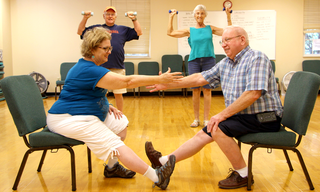 Participants in a falls prevention class.