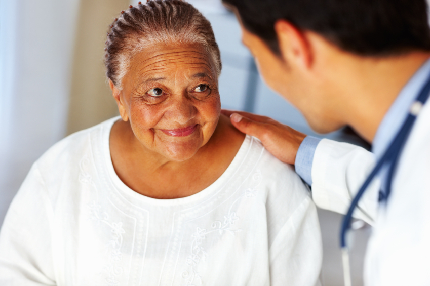 Woman speaking with a physician