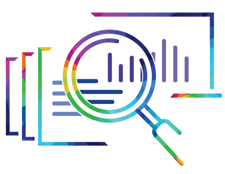 Icon of a magnifying glass examining reports