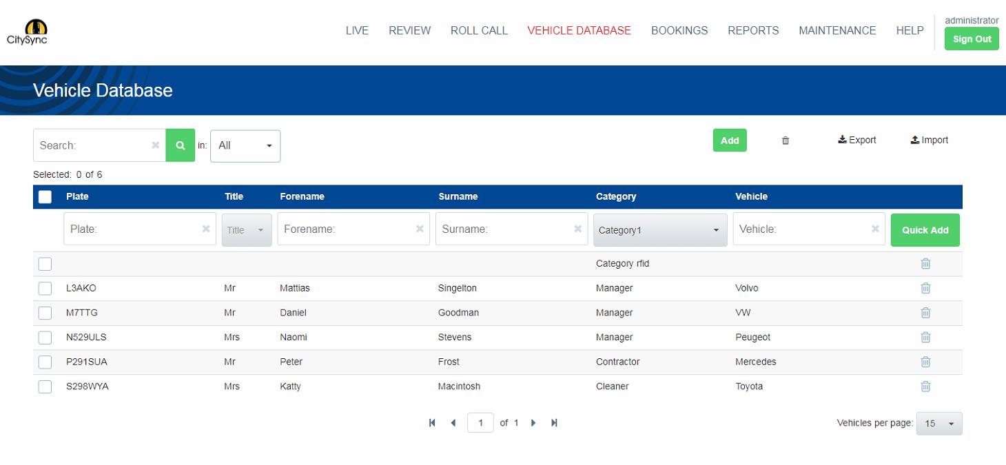 Vehicle database