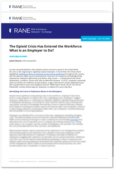 RANE Spotlight - The Opioid Crisis Has Entered the Workforce: What Is an Employer to Do?