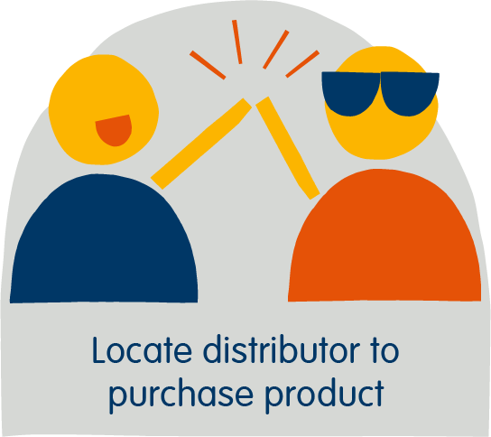 Locate distributor to purchase product