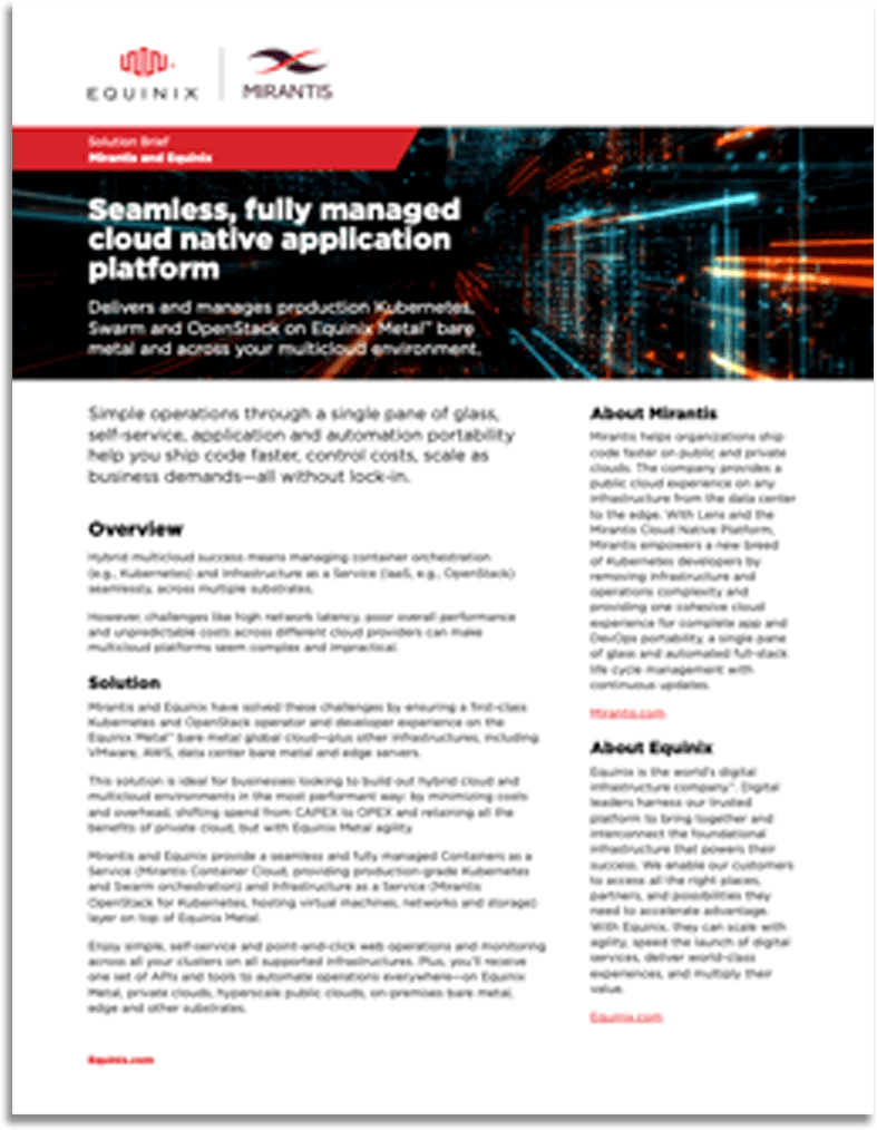 thumbnail image of the first page of the MCC powered by Equinix Metal joint solution brief