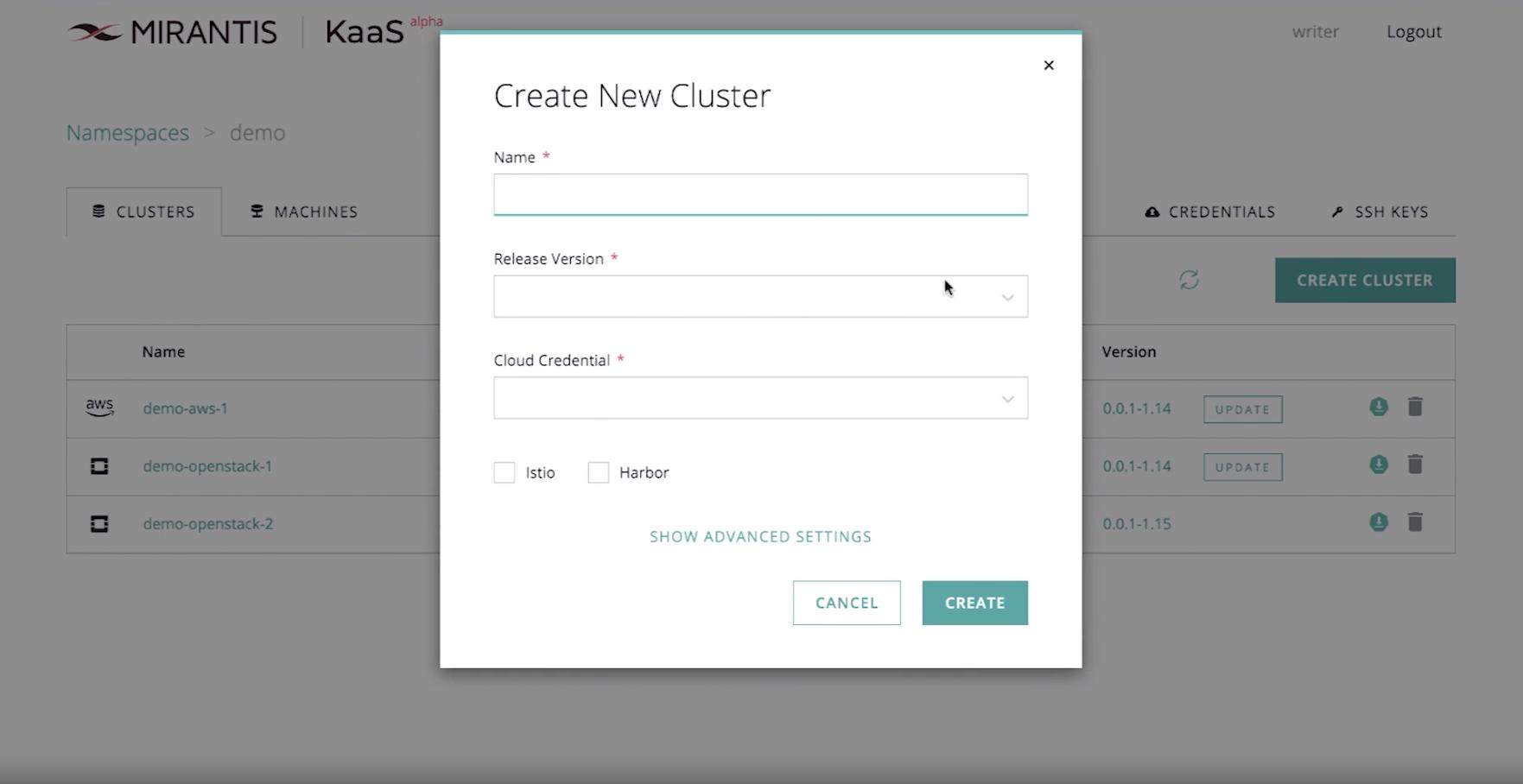 kaas create new cluster