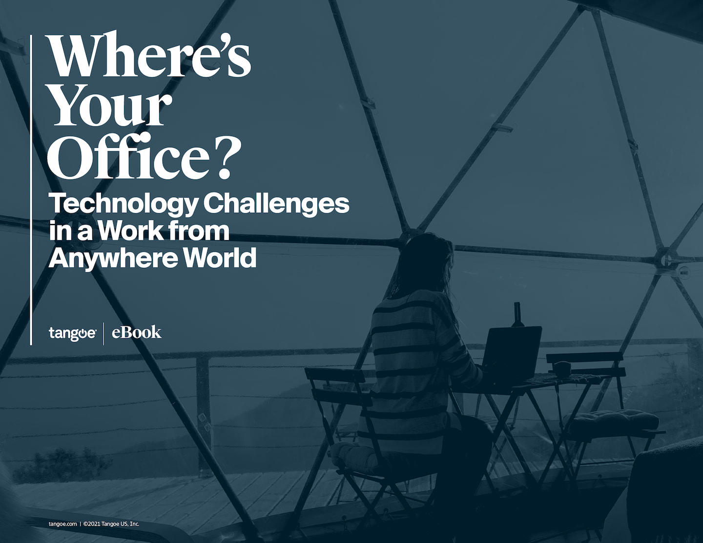 Tangoe eBook Cover which reads: Where's your office? Technology challenges in a work from anywhere world