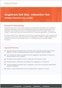 Singletrack Interaction Data Sheet