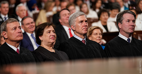 Justices Roberts, Kagan, Gorsuch, and Kavanaugh at the State of the Union in February