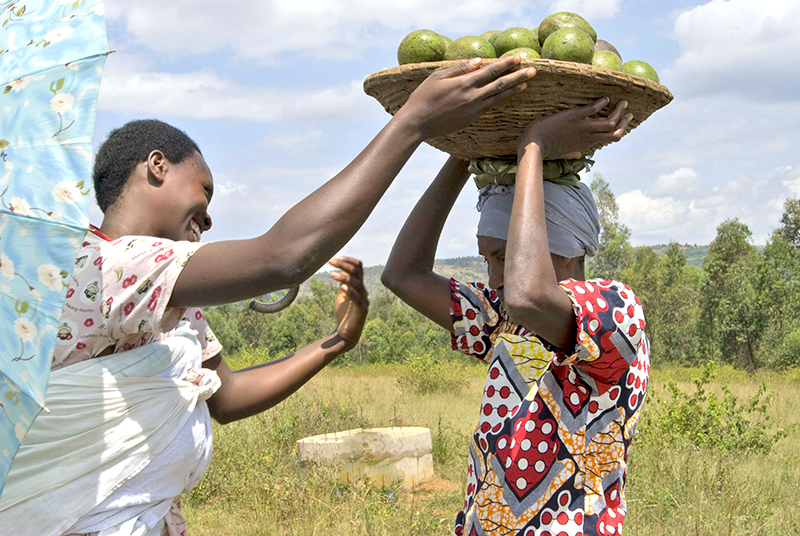 Woman helping another lift a basket of fruit on to her head.