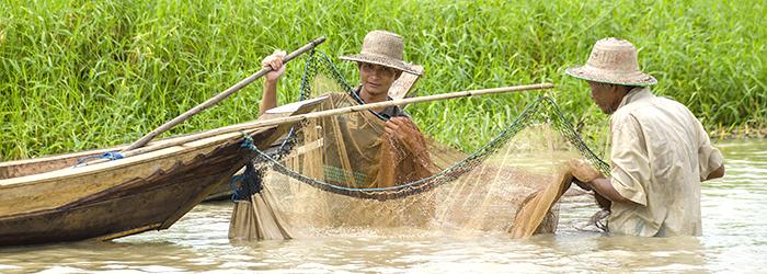 Fisherfolk in Myanmar using a net