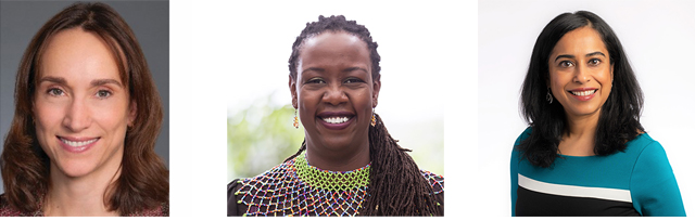 Headshots of Luciana Aquino-Hagedorn, JD; Dr. Wanjiru Kamau-Rutenberg; Darshana Shanbhag, MD