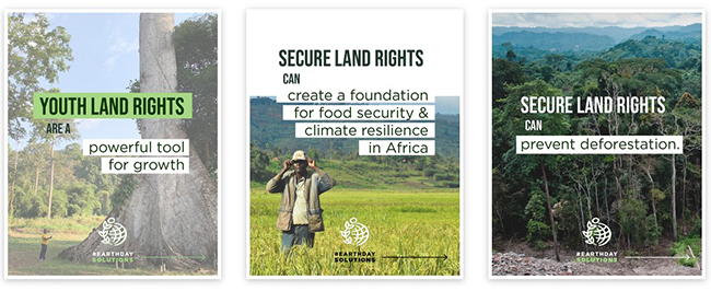 Three panels showing the covers of three infographics: Youth land rights are a powerful tool for growth; Secure land rights create a foundation for food security and climate resilience in Africa; Secure land rights can prevent deforestation.