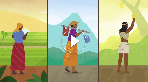 A still shot from the animated showing three women in three different communities.
