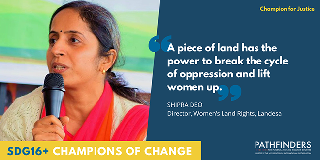 A photo of Shipra Deo speaking into a microphone next to the quote 'A piece of land has the power to break the cycle of opression and lift women up.'