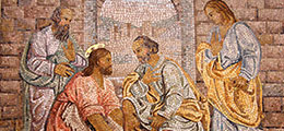 Jesus washes disciples feet mosaic