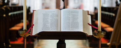 Bible on stand in church