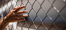 Hand reaching through wire fence