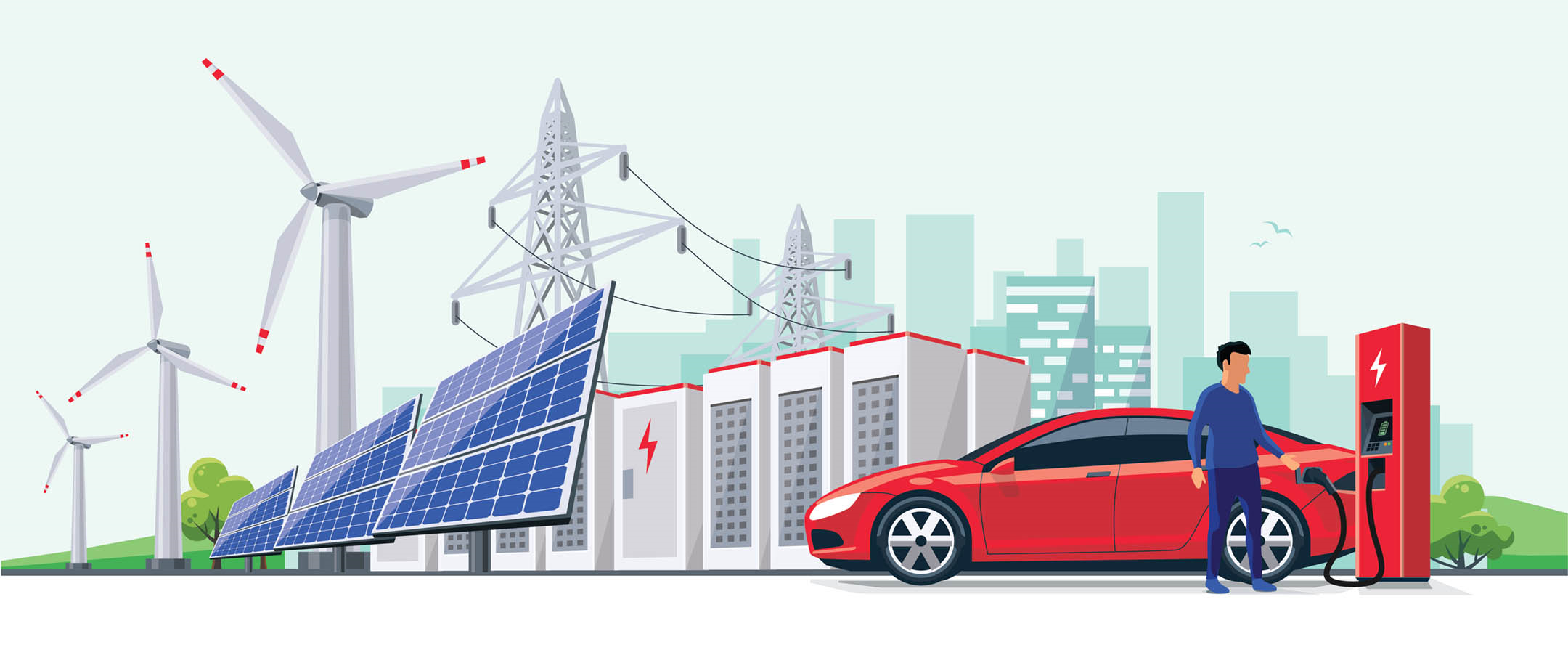 """Person fueling an electric car in front of solar panels and wind turbines overlaid with a chart of consumption over time and segments of a line graph indicated as """"energy savings"""", """"peak load offset"""", and """"peak load reduction""""."""